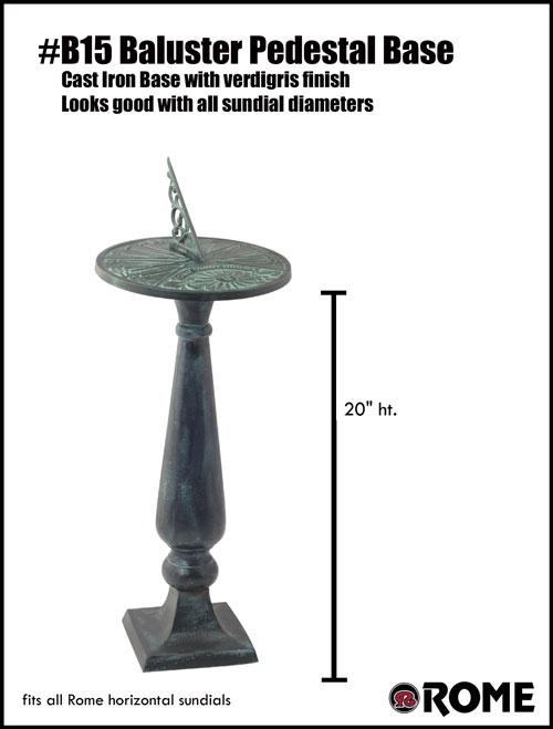 ordinary Sundial Pedestal Base Part - 20: Rome Cast Iron Baluster Pedesta Base