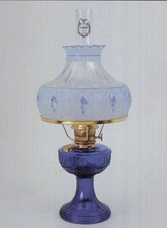 Aladdin Lamps Cobalt Blue Short Lincoln Drape Table Lamp With Blue Meadow  Shade #C6177 753