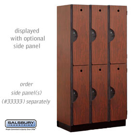 DOUBLE TIER  DESIGNER LOCKER-3 WIDE-6 FEET HIGH-18 INCHES DEEP-MAHOGANY