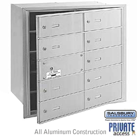 10 DOOR (9 USABLE) 4B+ HORIZONTAL MAILBOX-ALUMINUM-FRONT LOADING-B DOORS-PRIVATE ACCESS