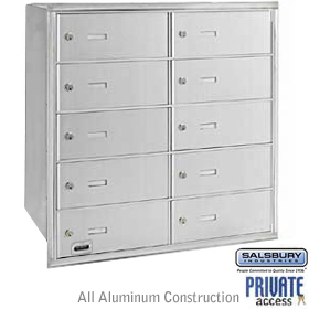 10 DOOR 4B+ HORIZONTAL MAILBOX-ALUMINUM-REAR LOADING-B DOORS-PRIVATE ACCESS