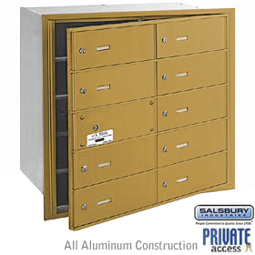 10 DOOR (9 USABLE) 4B+ HORIZONTAL MAILBOX-GOLD-FRONT LOADING-B DOORS-PRIVATE ACCESS