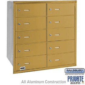 10 DOOR 4B+ HORIZONTAL MAILBOX-GOLD-REAR LOADING-B DOORS-PRIVATE ACCESS