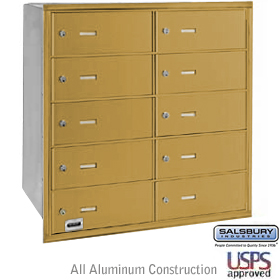 10 DOOR 4B+ HORIZONTAL MAILBOX-GOLD-REAR LOADING-B DOORS-USPS ACCESS
