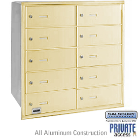 10 DOOR 4B+ HORIZONTAL MAILBOX-SANDSTONE-REAR LOADING-B DOORS-PRIVATE ACCESS