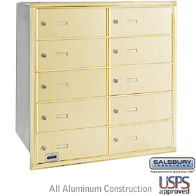 10 DOOR 4B+ HORIZONTAL MAILBOX-SANDSTONE-REAR LOADING-B DOORS-USPS ACCESS