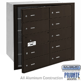 10 DOOR (9 USABLE) 4B+ HORIZONTAL MAILBOX-BRONZE-FRONT LOADING-B DOORS-PRIVATE ACCESS