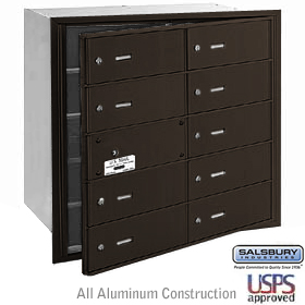 10 DOOR (9 USABLE) 4B+ HORIZONTAL MAILBOX-BRONZE-FRONT LOADING-B DOORS-USPS ACCESS