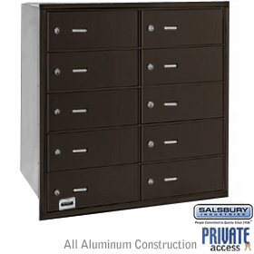 10 DOOR 4B+ HORIZONTAL MAILBOX-BRONZE-REAR LOADING-B DOORS-PRIVATE ACCESS