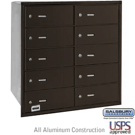 10 DOOR 4B+ HORIZONTAL MAILBOX-BRONZE-REAR LOADING-B DOORS-USPS ACCESS