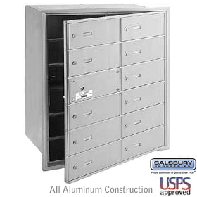 12 DOOR (11 USABLE) 4B+ HORIZONTAL MAILBOX-ALUMINUM-FRONT LOADING-B DOORS-USPS ACCESS