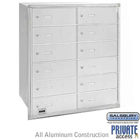 12 DOOR 4B+ HORIZONTAL MAILBOX-ALUMINUM-REAR LOADING-B DOORS-PRIVATE ACCESS