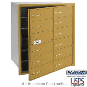12 DOOR (11 USABLE) 4B+ HORIZONTAL MAILBOX-GOLD-FRONT LOADING-B DOORS-USPS ACCESS