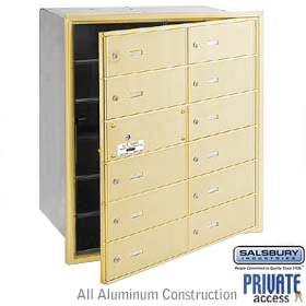 12 DOOR (11 USABLE) 4B+ HORIZONTAL MAILBOX-SANDSTONE-FRONT LOADING-B DOORS-PRIVATE ACCESS