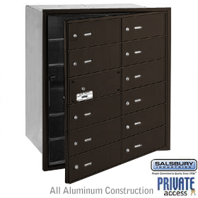 12 DOOR (11 USABLE) 4B+ HORIZONTAL MAILBOX-BRONZE-FRONT LOADING-B DOORS-PRIVATE ACCESS