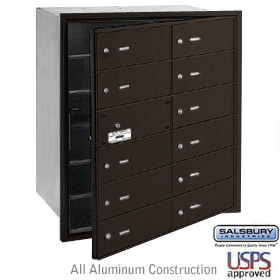 12 DOOR (11 USABLE) 4B+ HORIZONTAL MAILBOX-BRONZE-FRONT LOADING-B DOORS-USPS ACCESS
