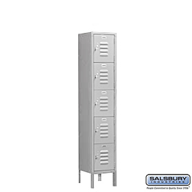 BOX STYLE STANDARD LOCKER-FIVE TIER-1 WIDE-5 FEET HIGH-12 INCHES DEEP-GRAY-ASSEMBLED