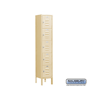 BOX STYLE STANDARD LOCKER-FIVE TIER-1 WIDE-5 FEET HIGH-12 INCHES DEEP-TAN-ASSEMBLED