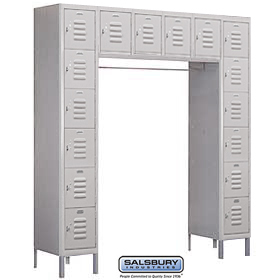 BOX STYLE BRIDGE LOCKER-SIX TIER-16 BOX-18 INCHES DEEP-GRAY-ASSEMBLED