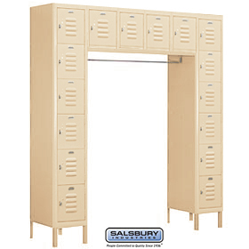 BOX STYLE BRIDGE LOCKER-SIX TIER-16 BOX-18 INCHES DEEP-TAN-ASSEMBLED