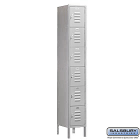 BOX STYLE STANDARD LOCKER-SIX TIER-1 WIDE-6 FEET HIGH-18 INCHES DEEP-GRAY-UNASSEMBLED