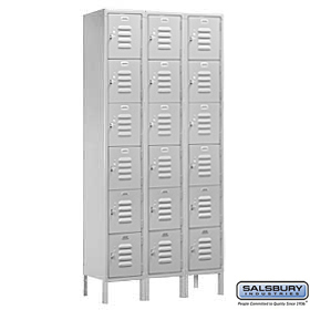 BOX STYLE STANDARD LOCKER-SIX TIER-3 WIDE-6 FEET HIGH-18 INCHES DEEP-GRAY-UNASSEMBLED