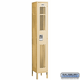 VENTED LOCKER-SINGLE TIER-1 WIDE-6 FEET HIGH-12 INCHES DEEP-TAN-ASSEMBLED
