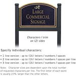 COMMERCIAL SIGN-ARCHED-BLACK POST-BLACK SIGN-GOLD CHARACTERS-DAISY-2 SIDED
