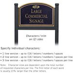 COMMERCIAL SIGN-ARCHED-BLACK POST-BLACK SIGN-GOLD CHARACTERS-FOUNTAIN-2 SIDED