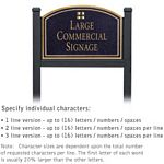 COMMERCIAL SIGN-ARCHED-BLACK POST-BLACK SIGN-GOLD CHARACTERS-GRID-1 SIDED