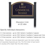 COMMERCIAL SIGN-ARCHED-BLACK POST-BLACK SIGN-GOLD CHARACTERS-GRID-2 SIDED