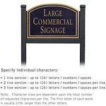 COMMERCIAL SIGN-ARCHED-BLACK POST-BLACK SIGN-GOLD CHARACTERS-NO EMBLEM-1 SIDED