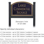 COMMERCIAL SIGN-ARCHED-BLACK POST-BLACK SIGN-GOLD CHARACTERS-NO EMBLEM-2 SIDED