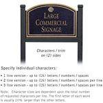 COMMERCIAL SIGN-ARCHED-BLACK POST-BLACK SIGN-GOLD CHARACTERS-SHELL-2 SIDED