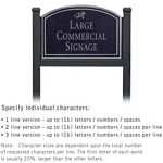COMMERCIAL SIGN-ARCHED-BLACK POST-BLACK SIGN-SILVER CHARACTERS-DAISY-1 SIDED