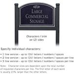 COMMERCIAL SIGN-ARCHED-BLACK POST-BLACK SIGN-SILVER CHARACTERS-FOUNTAIN-2 SIDED