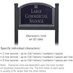 COMMERCIAL SIGN-ARCHED-BLACK POST-BLACK SIGN-SILVER CHARACTERS-GRID-2 SIDED