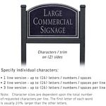 COMMERCIAL SIGN-ARCHED-BLACK POST-BLACK SIGN-SILVER CHARACTERS-NO EMBLEM-2 SIDED