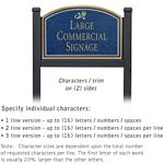 COMMERCIAL SIGN-ARCHED-BLACK POST-COBALT BLUE SIGN-GOLD CHARACTERS-DAISY-2 SIDED