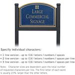 COMMERCIAL SIGN-ARCHED-BLACK POST-COBALT BLUE SIGN-GOLD CHARACTERS-GRID-1 SIDED