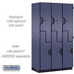 DOUBLE TIER ''S'' STYLE EXTRA WIDE DESIGNER LOCKER-3 WIDE-6 FEET HIGH-18 INCHES DEEP-BLUE