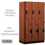 DOUBLE TIER ''S'' STYLE EXTRA WIDE DESIGNER LOCKER-3 WIDE-6 FEET HIGH-18 INCHES DEEP-CHERRY