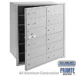 12 DOOR (11 USABLE) 4B+ HORIZONTAL MAILBOX-ALUMINUM-FRONT LOADING-B DOORS-PRIVATE ACCESS