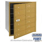 12 DOOR (11 USABLE) 4B+ HORIZONTAL MAILBOX-GOLD-FRONT LOADING-B DOORS-PRIVATE ACCESS