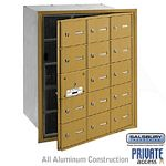 15 DOOR (14 USABLE) 4B+ HORIZONTAL MAILBOX-GOLD-FRONT LOADING-A DOORS-PRIVATE ACCESS