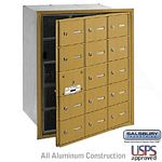 15 DOOR (14 USABLE) 4B+ HORIZONTAL MAILBOX-GOLD-FRONT LOADING-A DOORS-USPS ACCESS