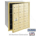 15 DOOR (14 USABLE) 4B+ HORIZONTAL MAILBOX-SANDSTONE-FRONT LOADING-A DOORS-USPS ACCESS