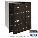15 DOOR (14 USABLE) 4B+ HORIZONTAL MAILBOX-BRONZE-FRONT LOADING-A DOORS-PRIVATE ACCESS