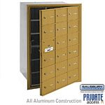 18 DOOR (17 USABLE) 4B+ HORIZONTAL MAILBOX-GOLD-FRONT LOADING-A DOORS-PRIVATE ACCESS