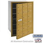 18 DOOR (17 USABLE) 4B+ HORIZONTAL MAILBOX-GOLD-FRONT LOADING-A DOORS-USPS ACCESS